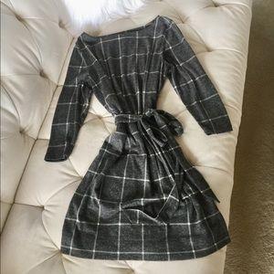 LOFT Lightweight Sweater Wrap Dress Checker SP